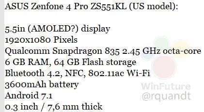 Вбазе данных GFXBench замечен смартфон Asus ZenFone 4 Pro