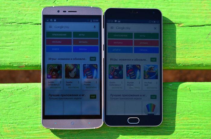 Meizu M2 Note и Elephone P8000 яркость днем