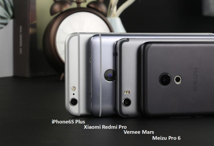 Vernee Mars вкомпактности выигрывает iPhone 6S Plus