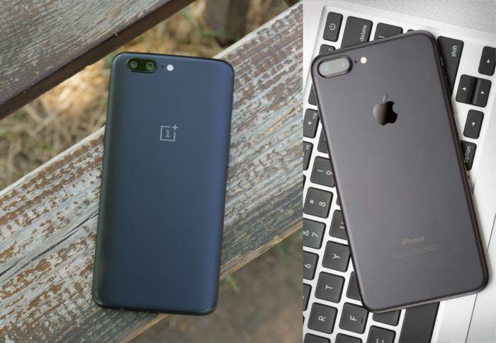 Сравнение дизайна OnePlus 5 и Apple iPhone 7 Plus