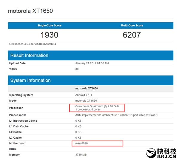 Moto Z2017 набазе Snapdragon 835 замечен вGeekbench