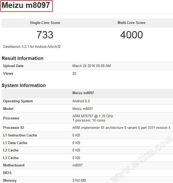 Meizu M8097 с 10-ядерным Helio X20 засветился в бенчмарке GeekBench – фото 1