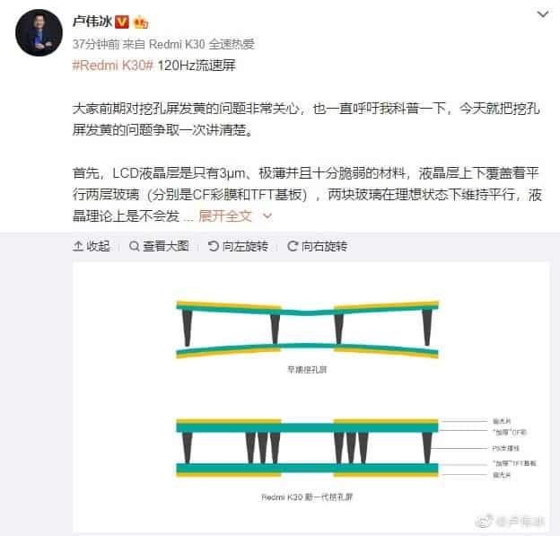 Дисплей Redmi K30 страдает от желтизны в области фронталки – фото 2