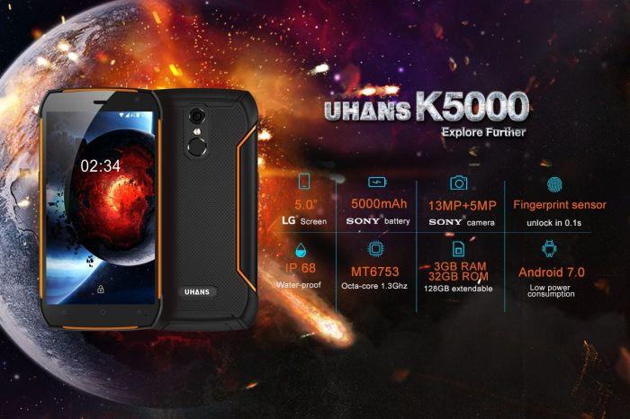 Защищенный UHANS K5000 с уровнем защиты IP68 и аккумулятором на 5000 мАч поступил в продажу – фото 1