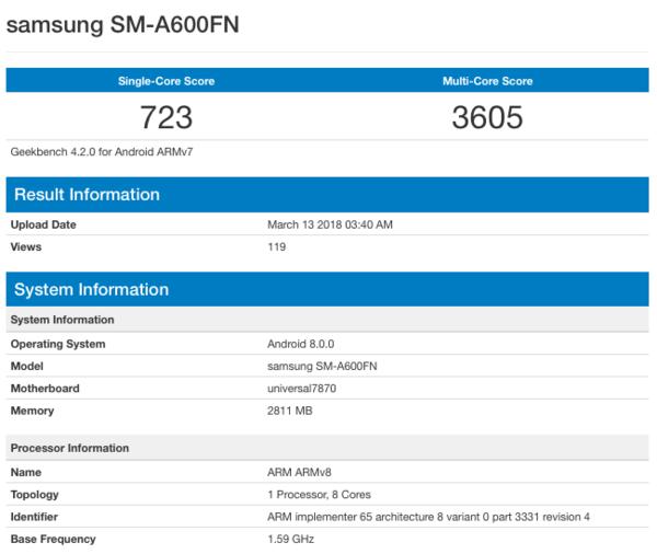 Samsung Galaxy A6 и Galaxy A6+ замечены в бенчмарке – фото 1