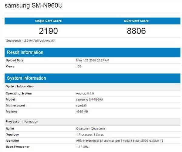 Samsung Galaxy Note 9 замечен в Geekbench – фото 1