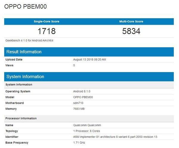 Oppo R17 Pro замечен в Geekbench и озвучили подробности о камере – фото 2
