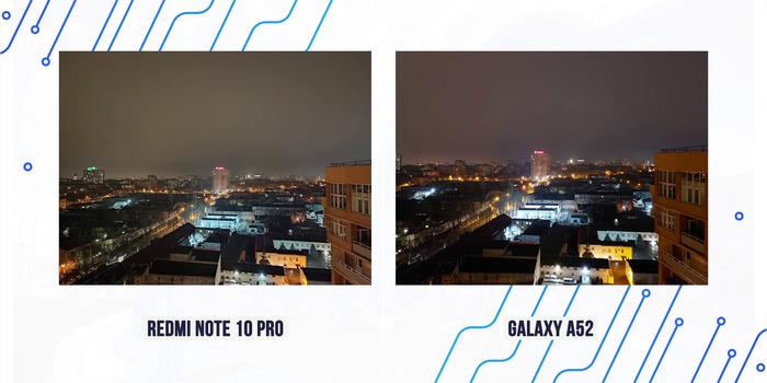 сравнение фото ночью Galaxy a52 с note 10 pro