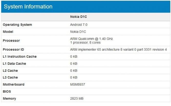 Nokia D1C с чипом Snapdragon 430 и Android 7.0 Nougat засветился в бенчмарке – фото 3