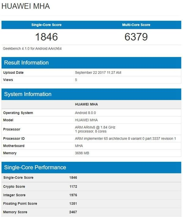 Huawei Mate 9 с Android 8.0 Oreo был замечен в Geekbench и рендер Huawei Mate 10 Pro – фото 1