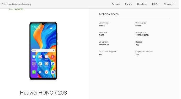 Характеристики Honor 20S: Kirin 810, быстрая зарядка и Android 10 – фото 1