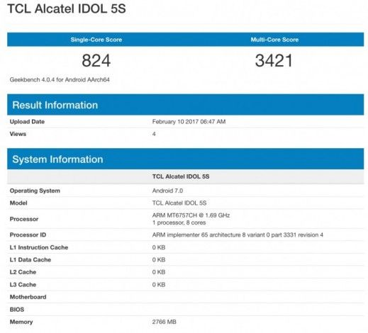Alcatel Idol 5S с чипом Helio P20 засветился в Geekbench – фото 1