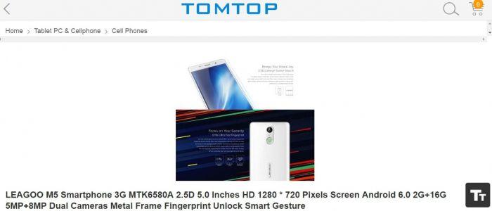 Leagoo M5 за $59,99 в магазине Tomtop.com – для тех, кто ищет добротный бюджетный смартфон – фото 1