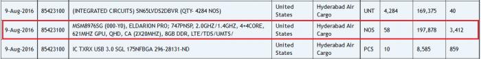Второе поколение Snapdragon 652 засветилось на сайте Zauba – фото 3