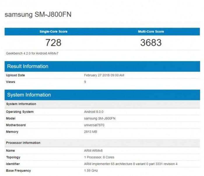 Samsung Galaxy J8 (2018) замечен в Geekbench – фото 1