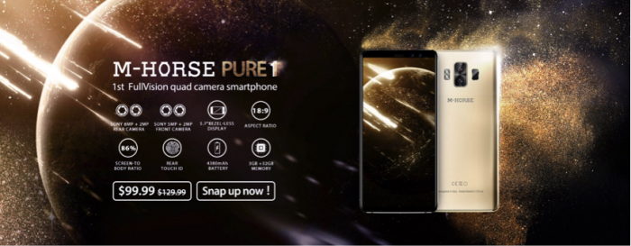M-HORSE Pure 1 с аккумулятором на 4380 мАч, 4 камерами и FullVision дисплеем доступен за $99,99 – фото 1
