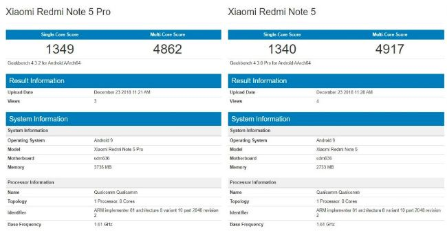 Xiaomi Redmi Note 5 Pro с Android Pie и в версии с другим чипом появился в Geekbench – фото 2