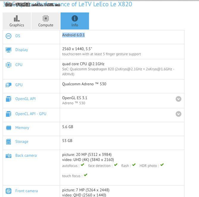 LeEсo Le 2 Pro (X820) по данным GFXBench получит 2К дисплей, Snapdragon 820, 6+64 Гб памяти и камеры на 8 и 21 Мп – фото 1