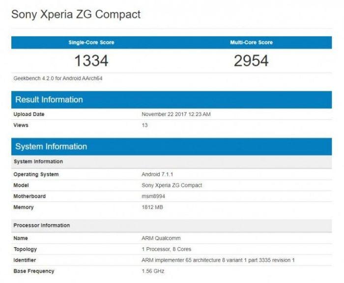 Sony Xperia ZG Compact на базе Snapdragon 810 обнаружен в Geekbench – фото 1