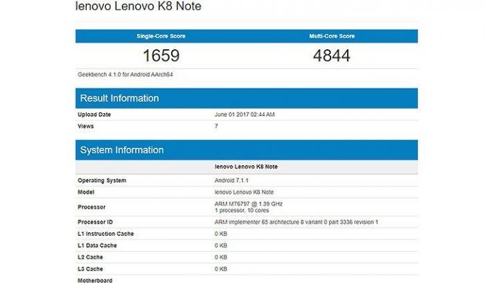 Lenovo K8 Note на базе Helio X20 засветился в Geekbench – фото 2