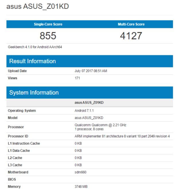 ASUS ZenFone 4 (2017) с Snapdragon 660 замечен в бенчмарке – фото 1