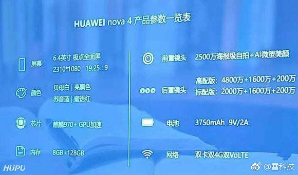 Huawei Nova 4 приписывают тройную камеру и чип Kirin 970 – фото 1