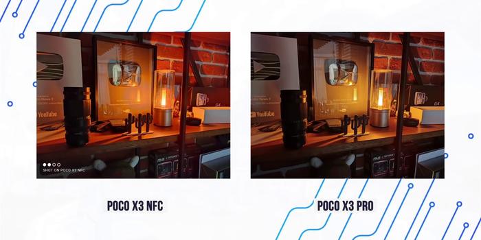 Сравнение фото Поко Икс 3 с Поко Икс 3 Про в темноте