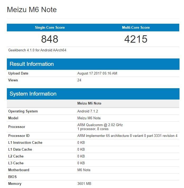 Meizu M6 Note вновь дал о себе знать в Geekbench. Теперь с  Snapdragon 625 – фото 1