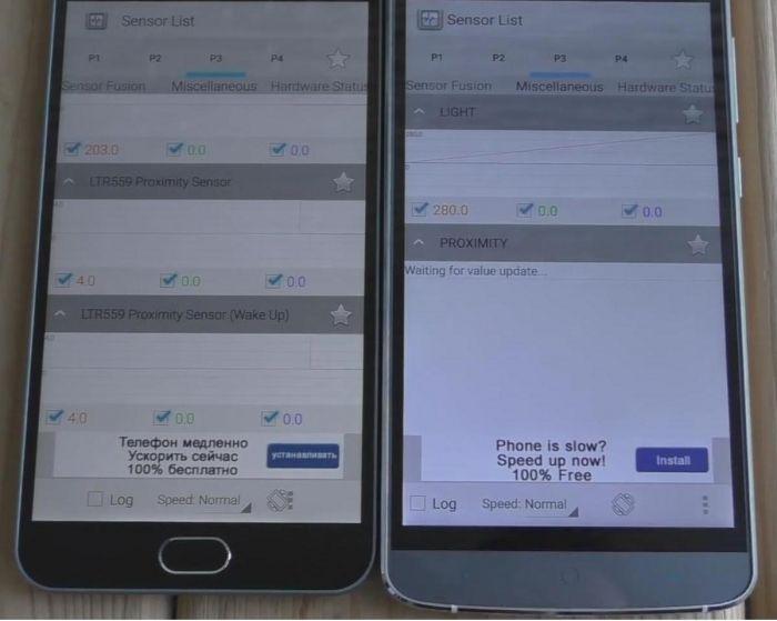 Meizu M2 Note и Elephone P8000 датчики