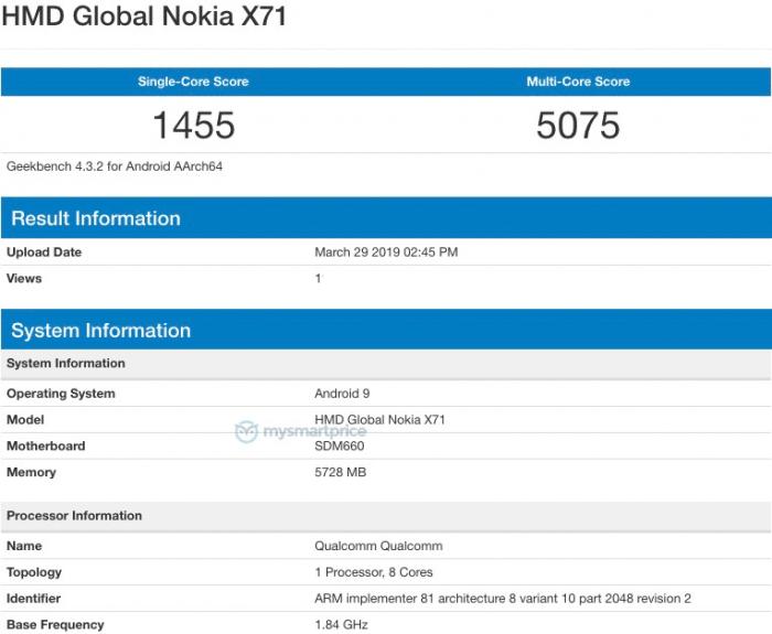 Nokia X71 с «дырявым» дисплеем и Snapdragon 660 замечен в Geekbench – фото 2