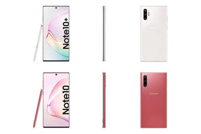 Рендеры Samsung Galaxy Note 10 и Galaxy Note 10+ в розовом и белом цветах
