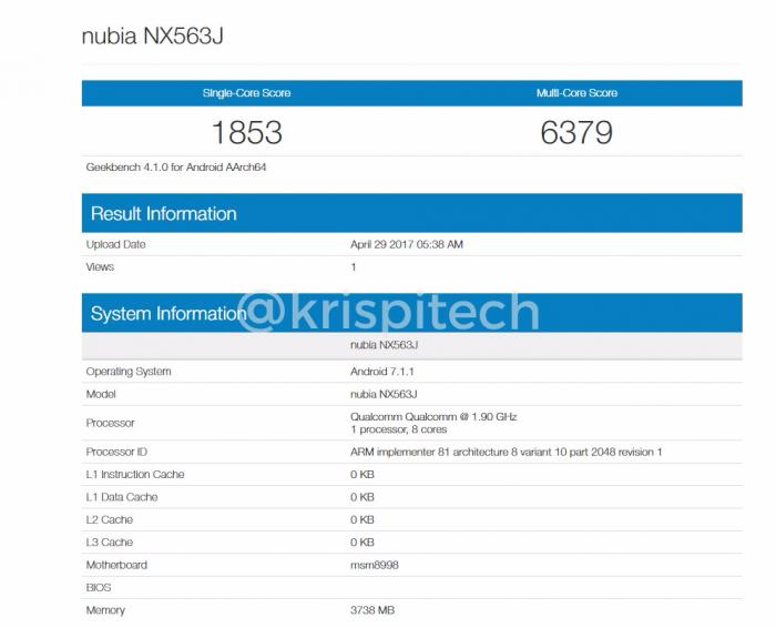 Nubia Z17 с платформой Snapdragon 835 замечен в Geekbench – фото 1