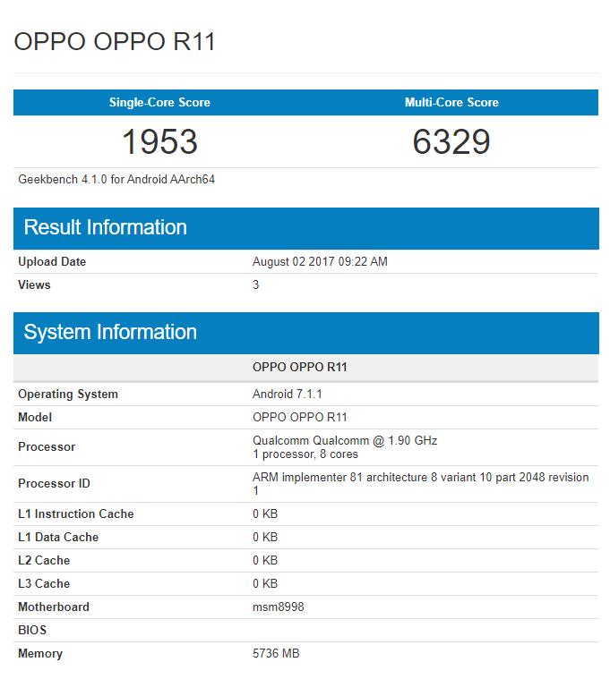 Oppo R11 с флагманским Snapdragon 835 замечен в GeekBench – фото 2