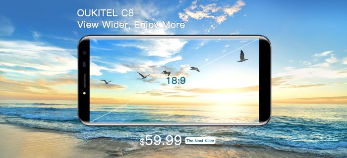Oukitel представит сразу два безрамочных смартфона: Mix 2 и C8 – фото 2