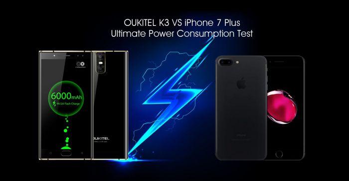 Oukitel K3 выигрывает у iPhone 7 Plus по автономности – фото 1