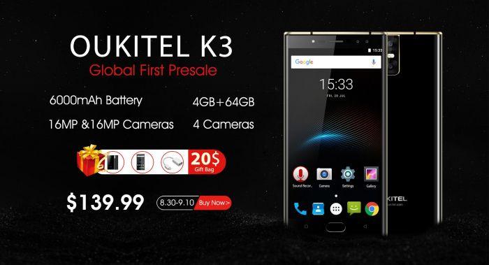 Стартовал прием предзаказов на бизнес-смартфон Oukitel K3 по цене $139,99 – фото 1