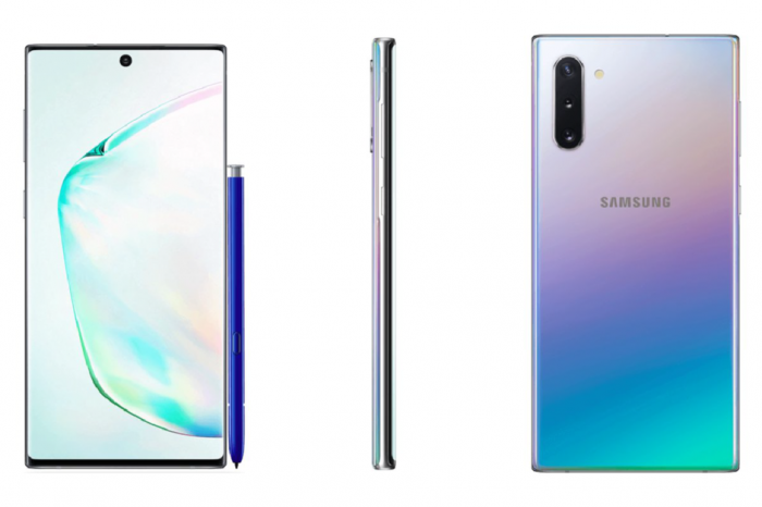 Рендеры Samsung Galaxy Note 10 и Galaxy Note 10+ в белом цвете
