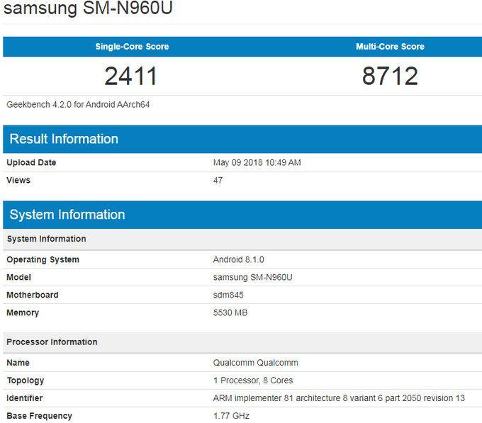 Samsung Galaxy Note 9 прошел испытание в Geekbench – фото 2
