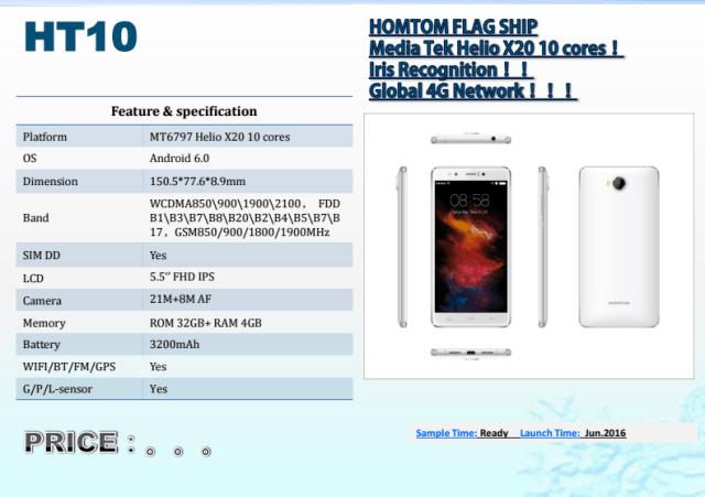 HomTom HT10: полная спецификация еще одной новинки с процессором Helio X20 – фото 1