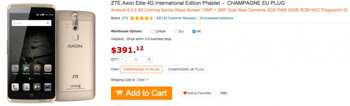 ZTE Axon Elite в акции от интернет-магазина Gearbest всего за $199,99 – фото 1