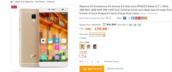 Закажи безрамочный Elephone S3 в магазине Tomtop.com всего за $179,99 – фото 1