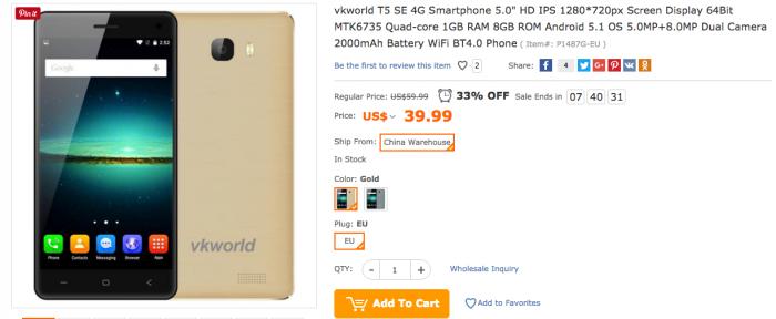 VKworld T5 SE: магазин TomTop начал прием предзаказов по цене $39.99 – фото 1