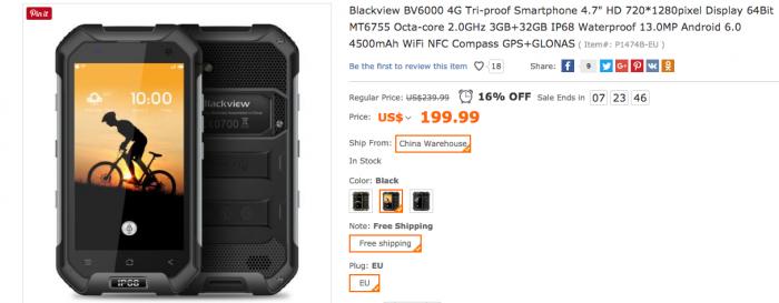 Blackview BV6000 с процессором Helio P10 и классом защиты IP68 всего за $178,25 в магазине TomTop.com – фото 1