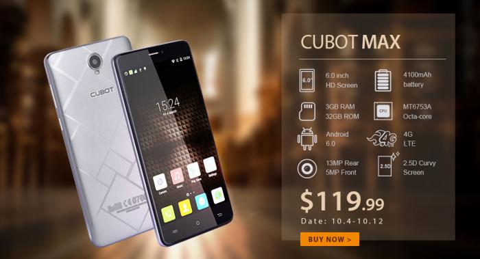 6-дюймовый Cubot Max с аккумулятором на 4100 мАч за $119.99 в магазине Gearbest.com – фото 1