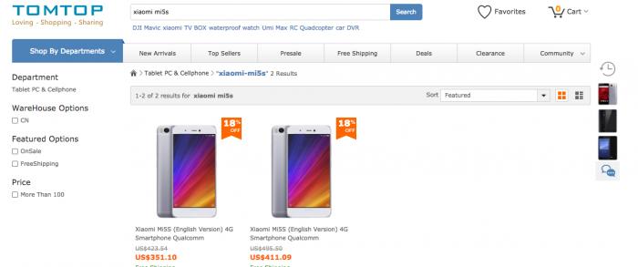 Xiaomi Mi 5s со скидкой в $20 в магазине Tomtop.com – фото 1