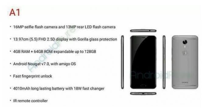 Gionee A1 получит 16 Мп фронтальную камеру, 4 Гб ОЗУ и Android 7.0 Nougat – фото 1