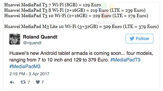 Huawei MediaPad T3 и MediaPad M3 Lite: характеристики и ценники на планшеты – фото 2