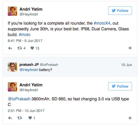Moto X4 с двойной камерой и аккумулятором на 3800 мАч представят 30 июня – фото 2