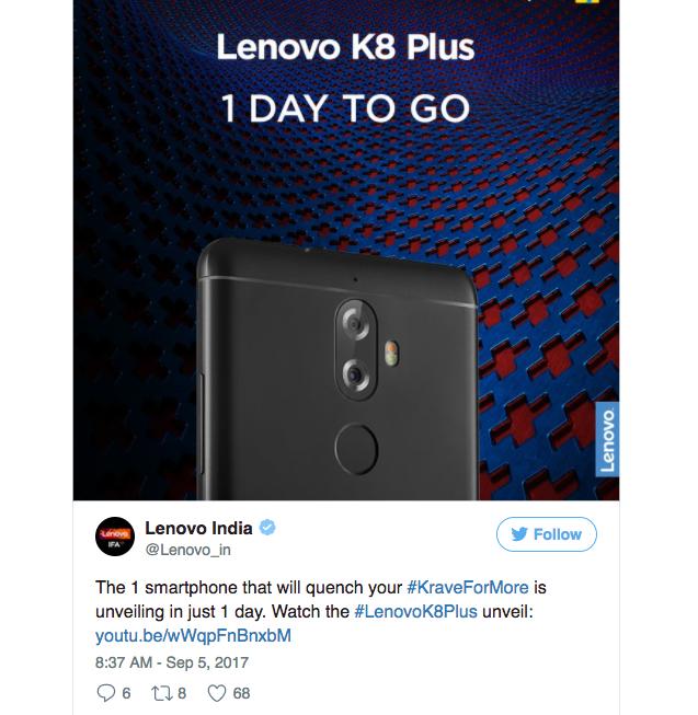 Lenovo K8 Plus с двойной камерой и чистым Android представят 6 сентября – фото 1