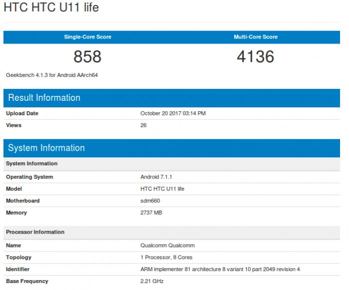 HTC U11 Life на базе Snapdragon 660 засветился в Geekbench – фото 2